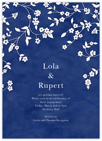 Floral Trellis II - Blue/White - Oscar de la Renta - Engagement party invitations