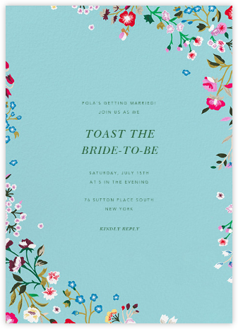 Embroidered Floral - Aquamarine - Oscar de la Renta - Bridal shower invitations