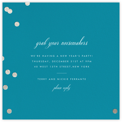 Holepunch - Teal - Paperless Post - New Year's Eve Invitations