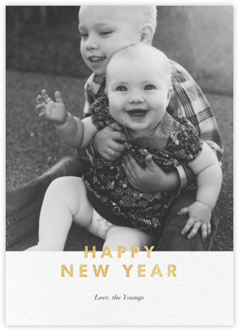New Year Cutouts (Tall Inset) - Gold - Paperless Post - New Year Cards