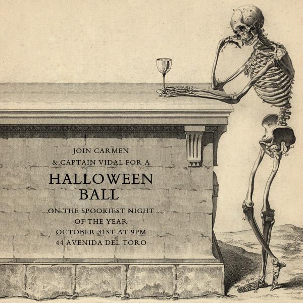 Skeleton with Drink - John Derian - Halloween invitations