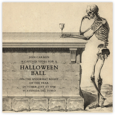 Skeleton with Drink - John Derian - Halloween invitations
