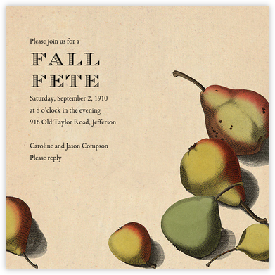 Pear Arrangement - John Derian - Autumn entertaining invitations