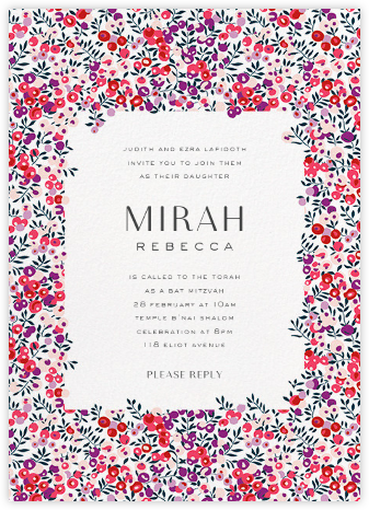 Wiltshire Berry - Pink - Liberty - Bat and Bar Mitzvah Invitations