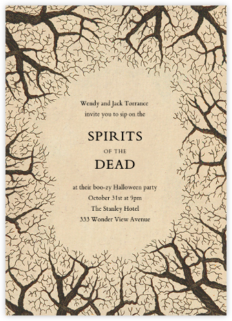 Bare Tree Border - John Derian - Halloween invitations