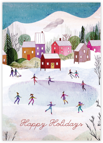 Village Skating (Josie Portillo) - Happy Holidays - Red Cap Cards - Use your own logo