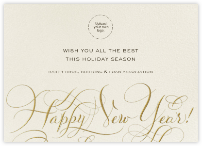 Happy New Year Script - Cream and Gold - Bernard Maisner - Business Party Invitations