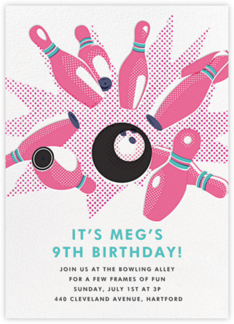 Lucky Strike - Pink - Hello!Lucky - Online Kids' Birthday Invitations