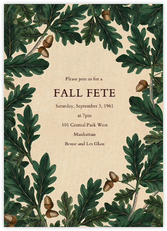 Acorn Border - John Derian - Fall Entertaining Invitations