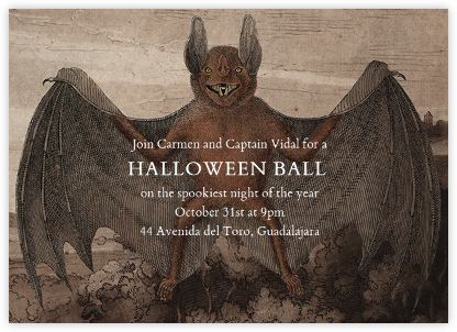 Bat (Horizontal) - John Derian - Halloween invitations