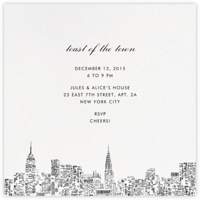 City Lights II (Square) - White/Black - kate spade new york - Online Party Invitations