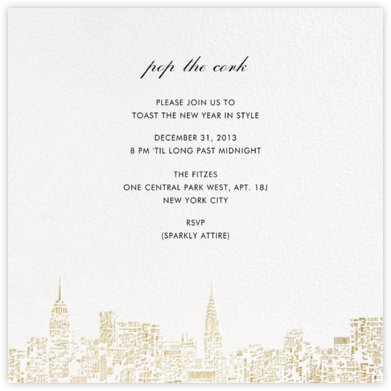 City Lights II (Square) - White/Gold - kate spade new york - Kate Spade invitations, save the dates, and cards