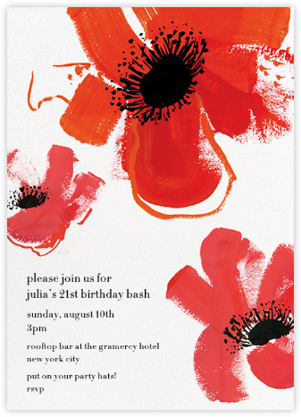 Poppies - Red - kate spade new york - Adult birthday invitations