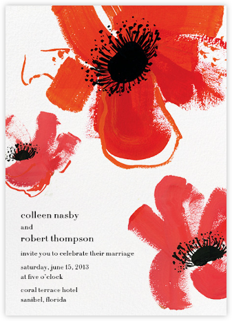 Poppies - Red - kate spade new york - Online Wedding Invitations