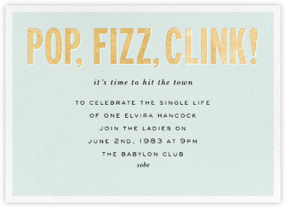 Pop Fizz Clink! (Horizontal) - kate spade new york - Bachelorette party invitations