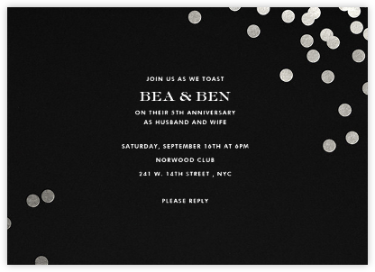 Anniversary invitations party invitations online at paperless post confetti blacksilver stopboris Images