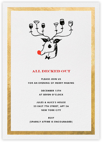 Reindeer Cocktails - Gold - kate spade new york - Kate Spade invitations, save the dates, and cards