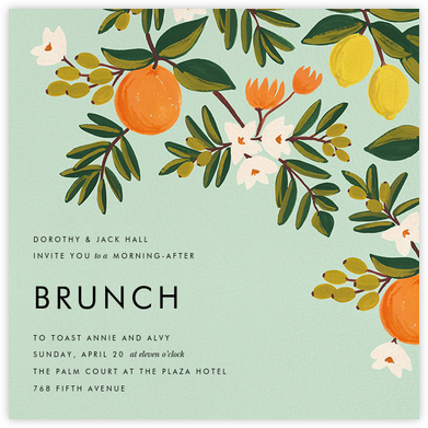 Citrus Orchard - Mint - Rifle Paper Co. - Invitations for Parties and Entertaining