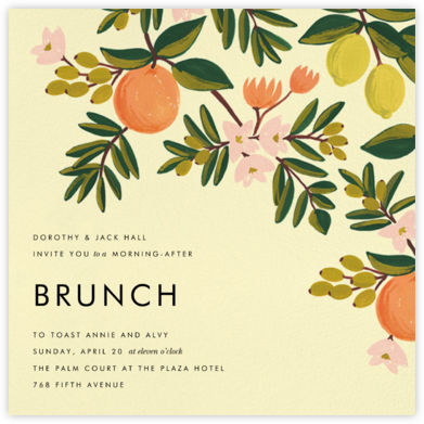 Citrus Orchard - Yellow - Rifle Paper Co. - Invitations for Entertaining