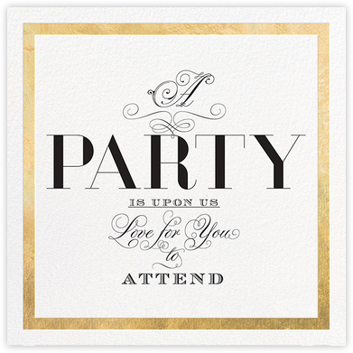 A Party is Upon Us - Gold - bluepoolroad - Adult birthday invitations