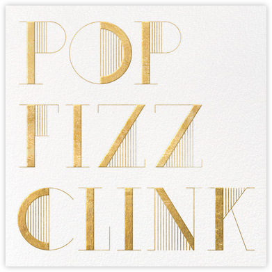 Pop Fizz Clink (Square) - White/Gold - kate spade new york - Winter Party Invitations