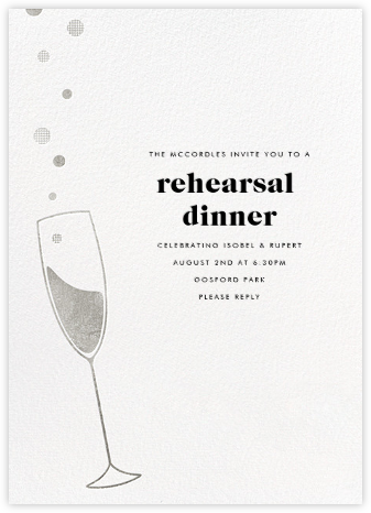 Champagne Bubbles - Silver - Paperless Post - Engagement party invitations