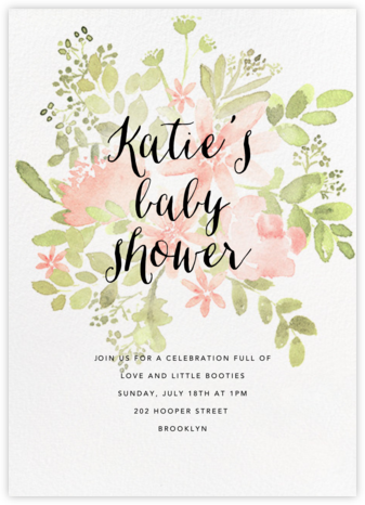 Pressed Blossoms - Pink - Paperless Post - Baby Shower Invitations