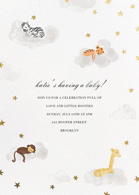 Starry Slumber (Invitation) - Gold - Paperless Post - Baby shower invitations