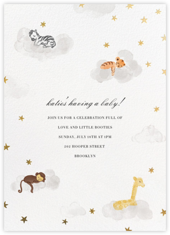 Starry Slumber (Invitation) - Gold - Paperless Post - Baby Shower Invitations