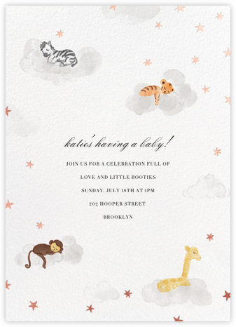 Starry Slumber (Invitation) - Rose Gold - Paperless Post - Baby Shower Invitations