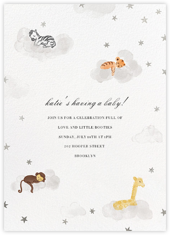 Starry Slumber (Invitation) - Silver - Paperless Post - Baby shower invitations