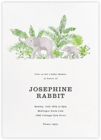Trunk Show - Paperless Post - Elephant Baby Shower Invitations