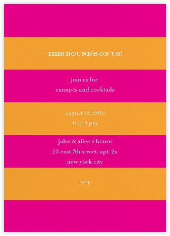 Evergreen Stripes - Hot Pink/Orange - kate spade new york - Summer entertaining invitations