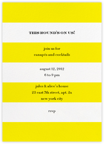 Evergreen Stripes - Yellow/White - kate spade new york - Summer entertaining invitations