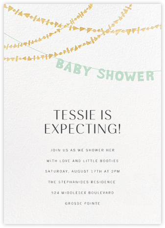 Shower Shapes - Mint/Gold - Paperless Post - Celebration invitations