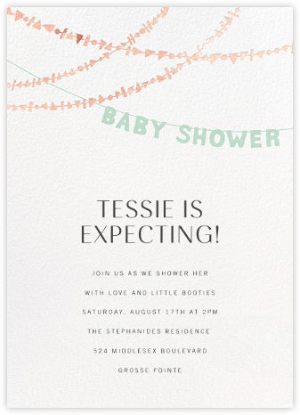 Shower Shapes - Mint/Rose Gold - Paperless Post - Baby Shower Invitations