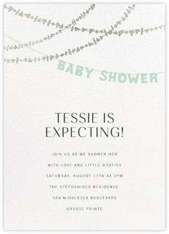 Shower Shapes - Mint/Silver - Paperless Post - Baby Shower Invitations