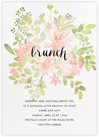 Pressed Blossoms - Pink - Paperless Post - Brunch invitations
