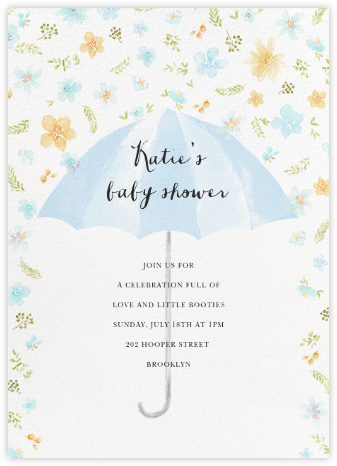 Flower Shower - Blue - Paperless Post - Baby Shower Invitations