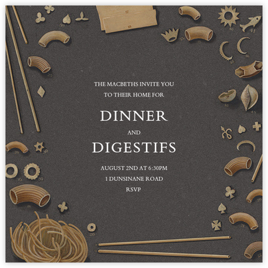 Pasta Shapes - John Derian - Dinner party invitations
