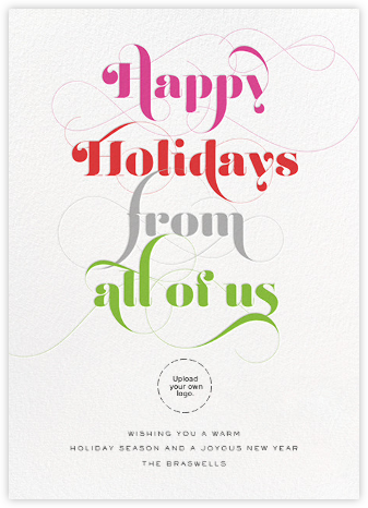 Happy Holidays from All of Us - Multi - bluepoolroad - Use your own logo