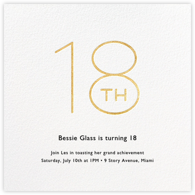 Decade (Eighteen) - Gold - Paperless Post - Milestone Birthday Invitations