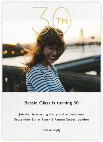 Decade Photo (Thirty) - Gold - Paperless Post - Adult Birthday Invitations