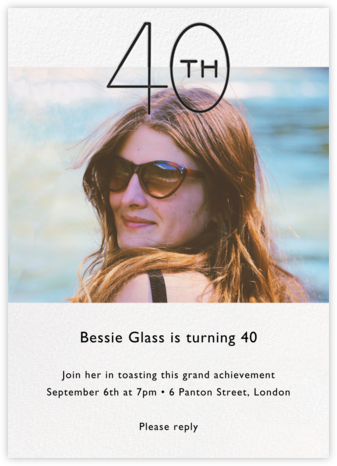 Decade Photo (Forty) - Black - Paperless Post - Adult birthday invitations