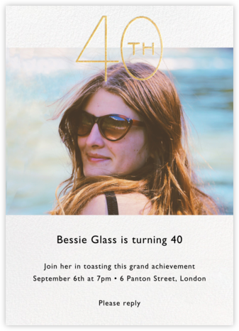 Decade Photo (Forty) - Gold - Paperless Post - Adult birthday invitations