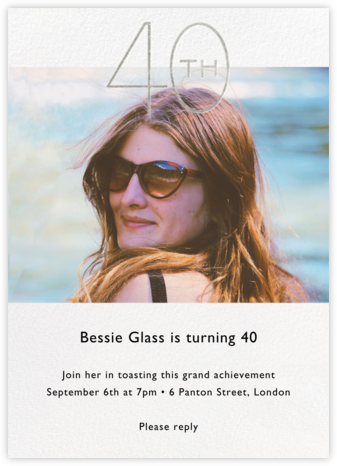 Decade Photo (Forty) - Silver - Paperless Post - Milestone Birthday Invitations