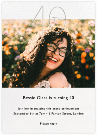Decade Photo (Forty) - Silver - Paperless Post - Adult Birthday Invitations