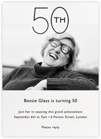 Decade Photo (Fifty) - Black - Paperless Post - Adult Birthday Invitations