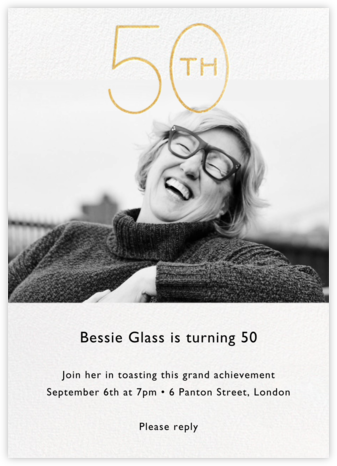 Decade Photo (Fifty) - Gold - Paperless Post - 50th Birthday Invitations