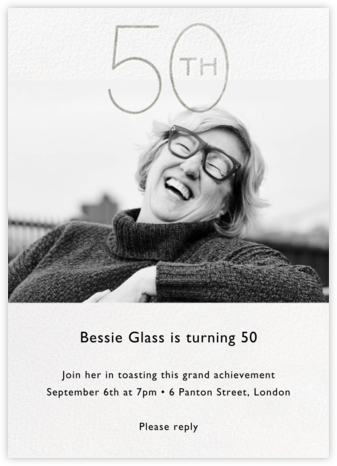 Decade Photo (Fifty) - Silver - Paperless Post - Adult Birthday Invitations